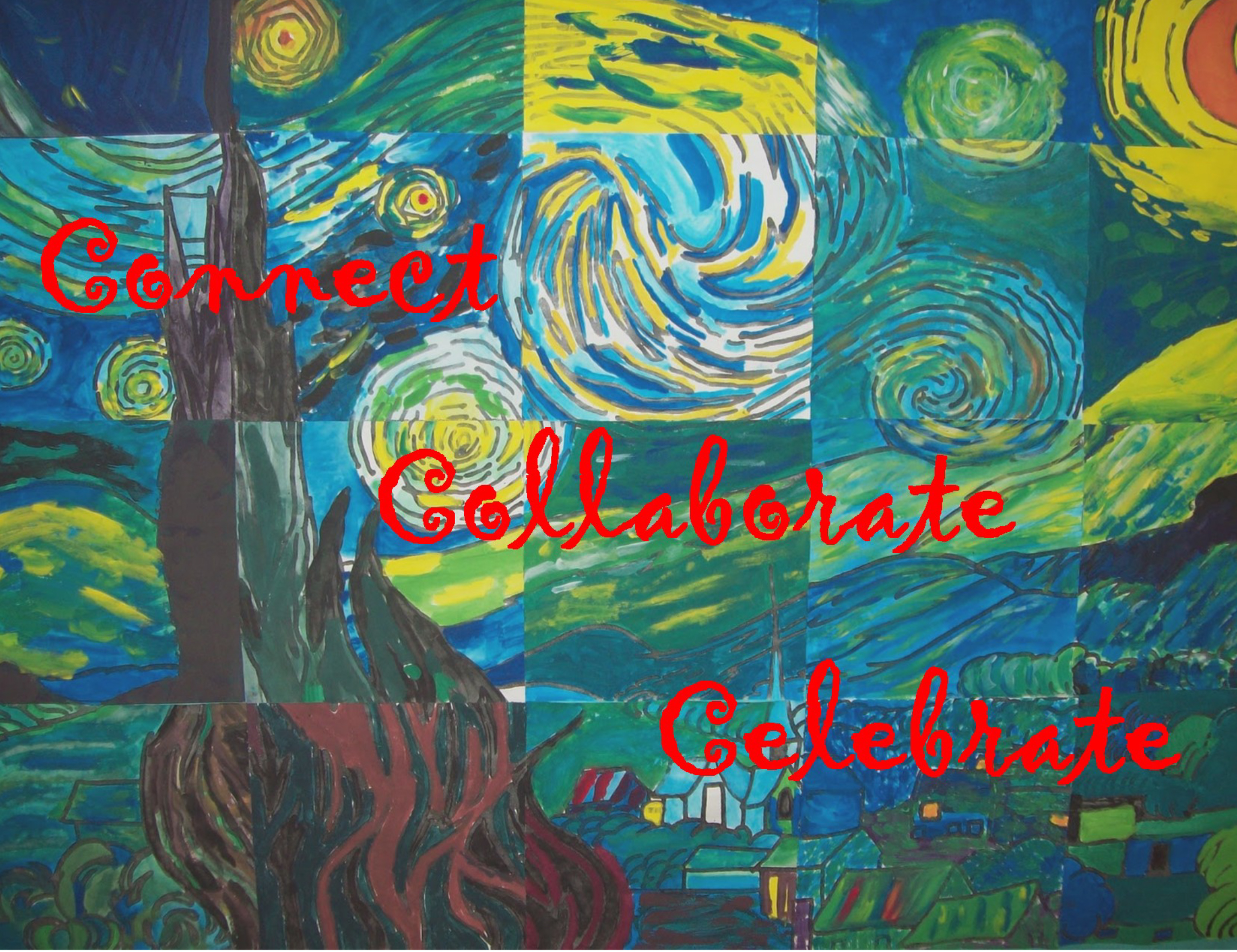 Van Gogh Painting with text Connect, Collaborate, Celebrate